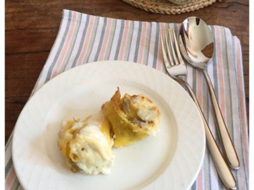 Rose di lasagne vegetariane con carciofi e ricotta