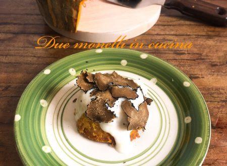 Tortino di zucca con besciamella al parmigiano e tartufo nero