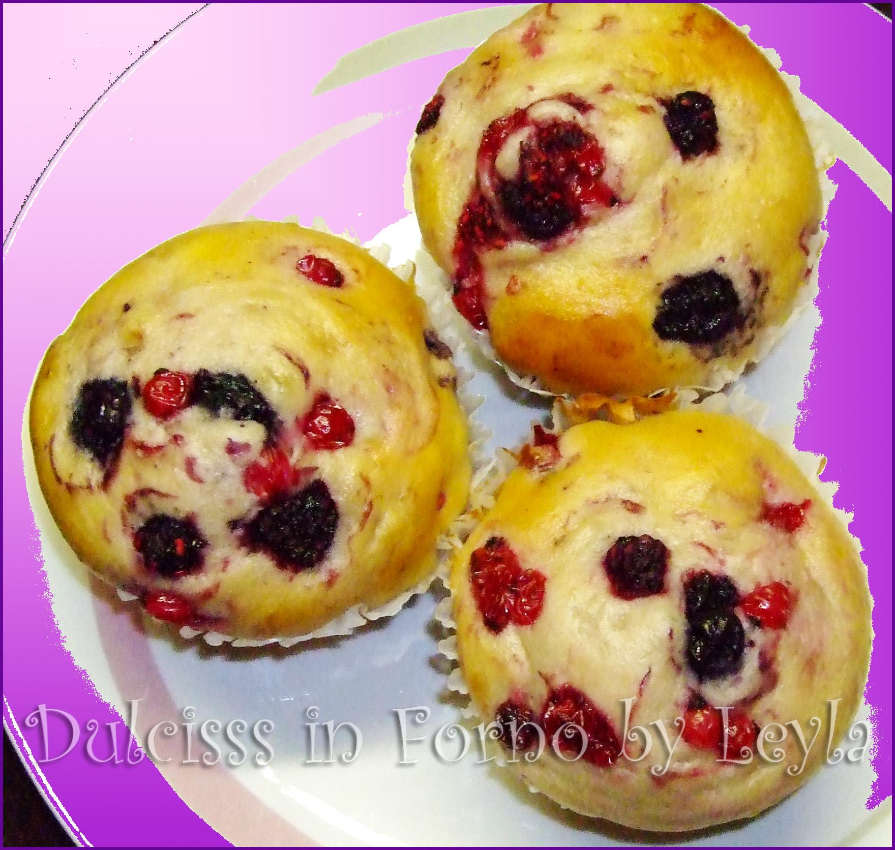 Muffin allo yogurt e frutti di bosco, ricetta per la colazione Dulcisss in forno