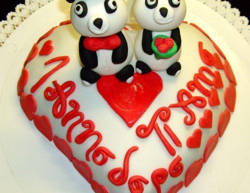 Torta Panda Sposi, decorata in pasta di zucchero