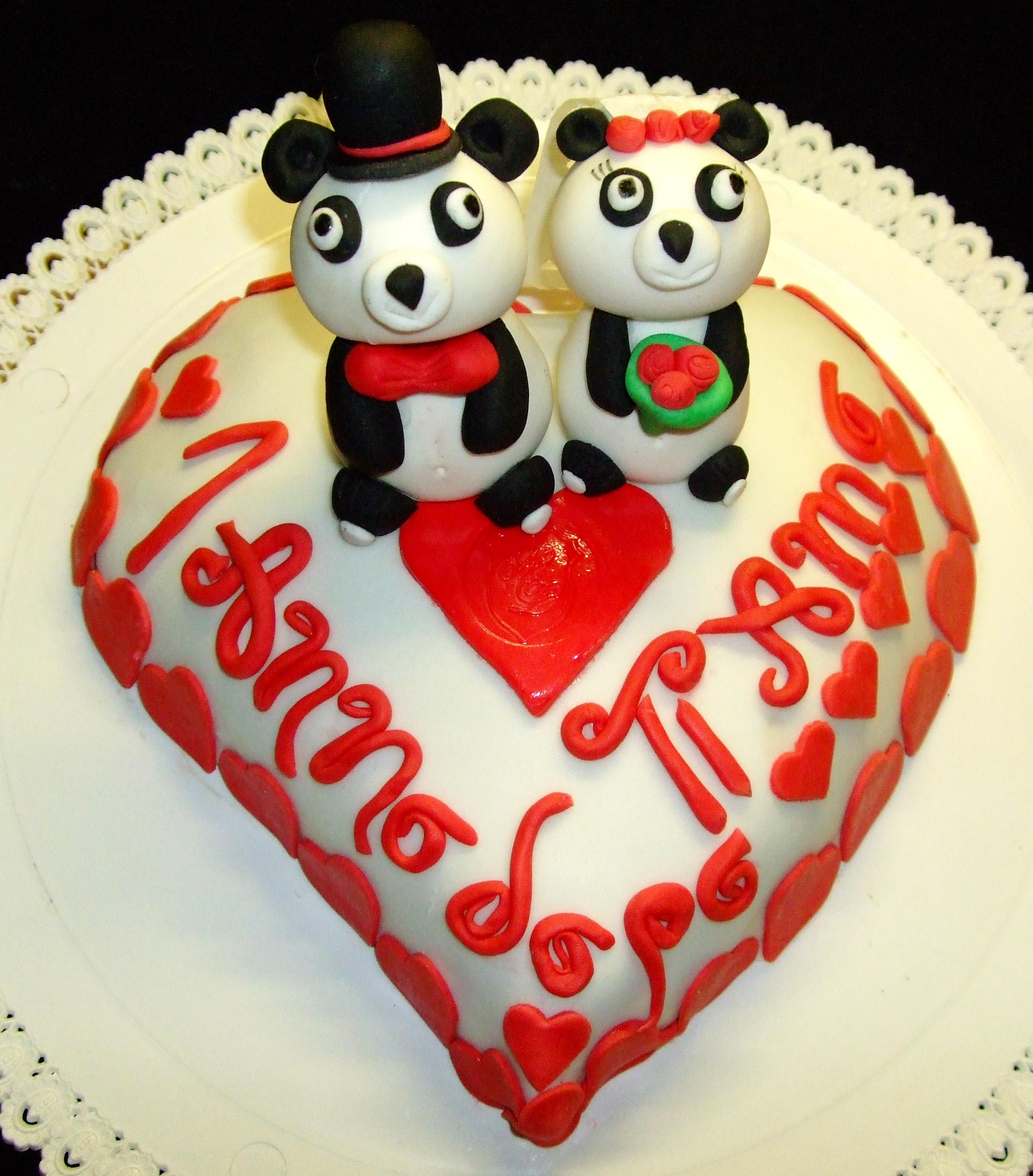Torta Per Anniversario Di Matrimonio Giallo Zafferano.Torta Panda Sposi Decorata In Pasta Di Zucchero