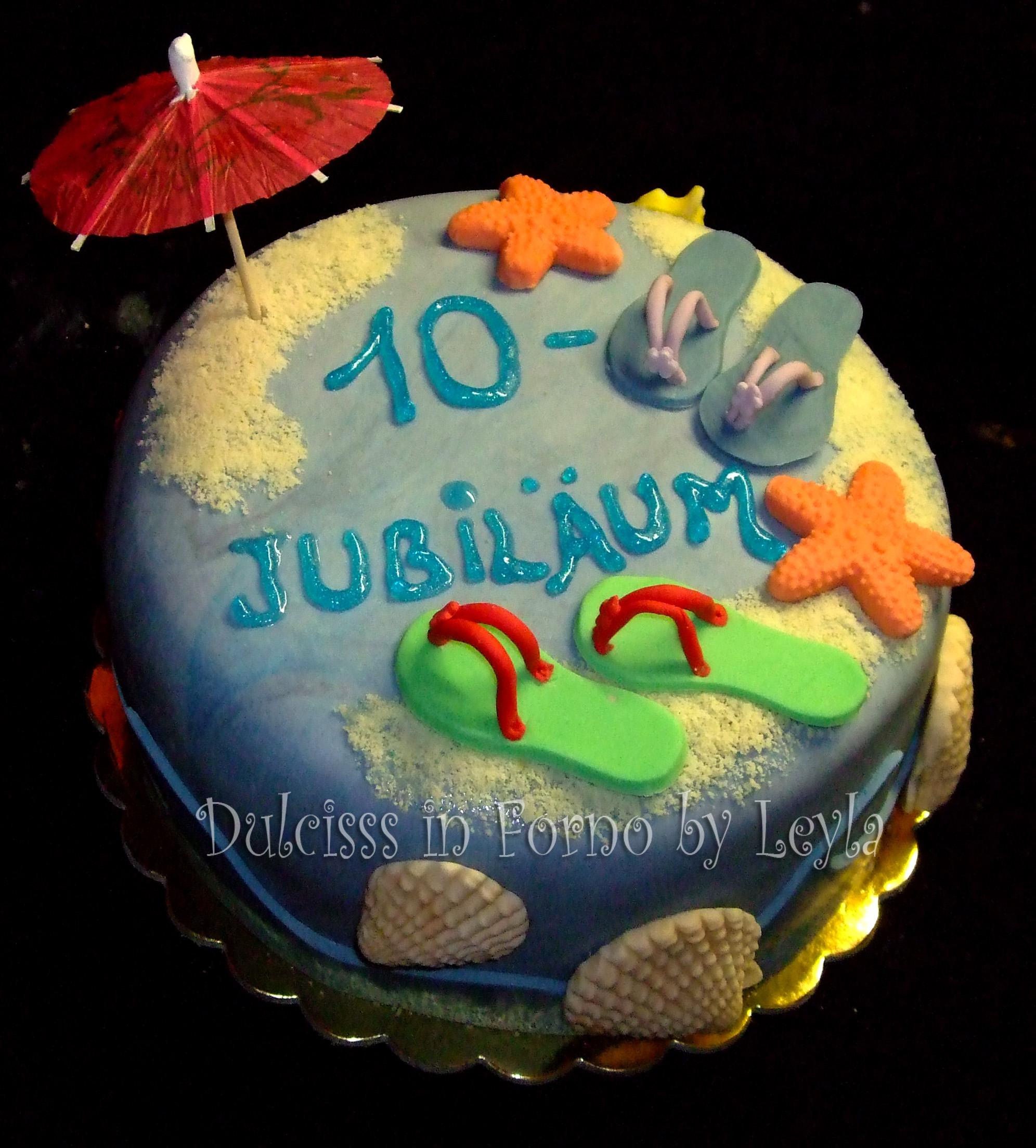 Torta decorata mare pasta di zucchero PDZ spiaggia vacanza estate Dulcisss in forno