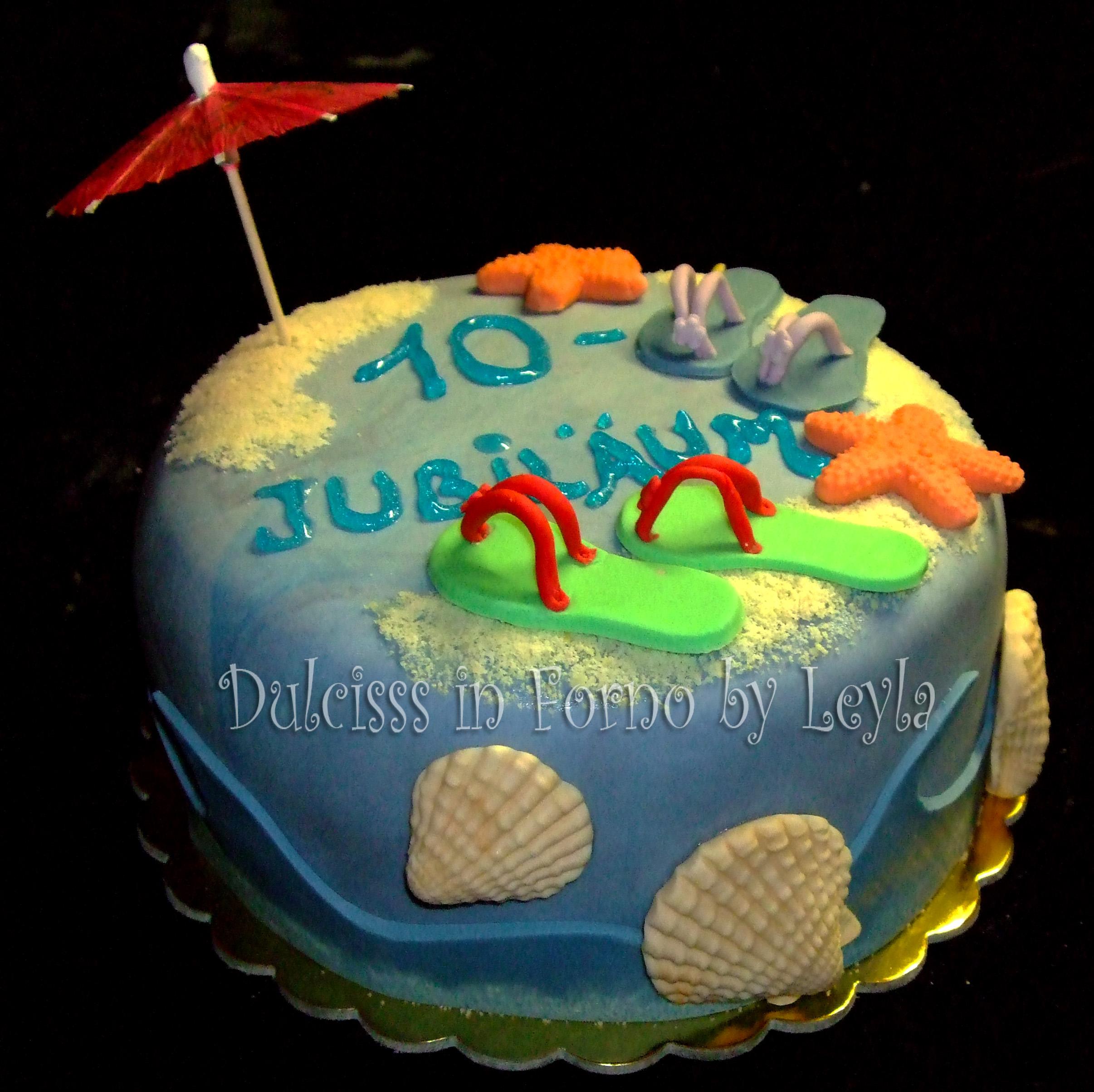 Torta decorata mare pasta di zucchero pdz for Decorazioni torte tema mare