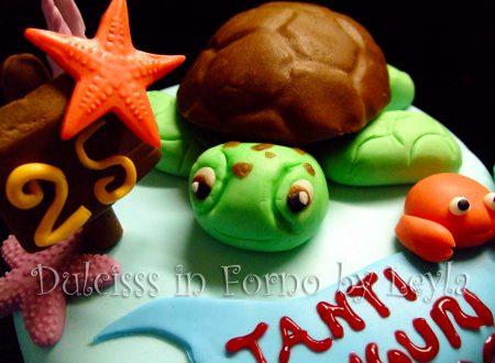 Torta tartaruga marina, decorata in pasta di zucchero