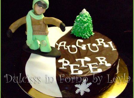 Torta Snowboarder o Snowboardista, decorata in pasta di zucchero