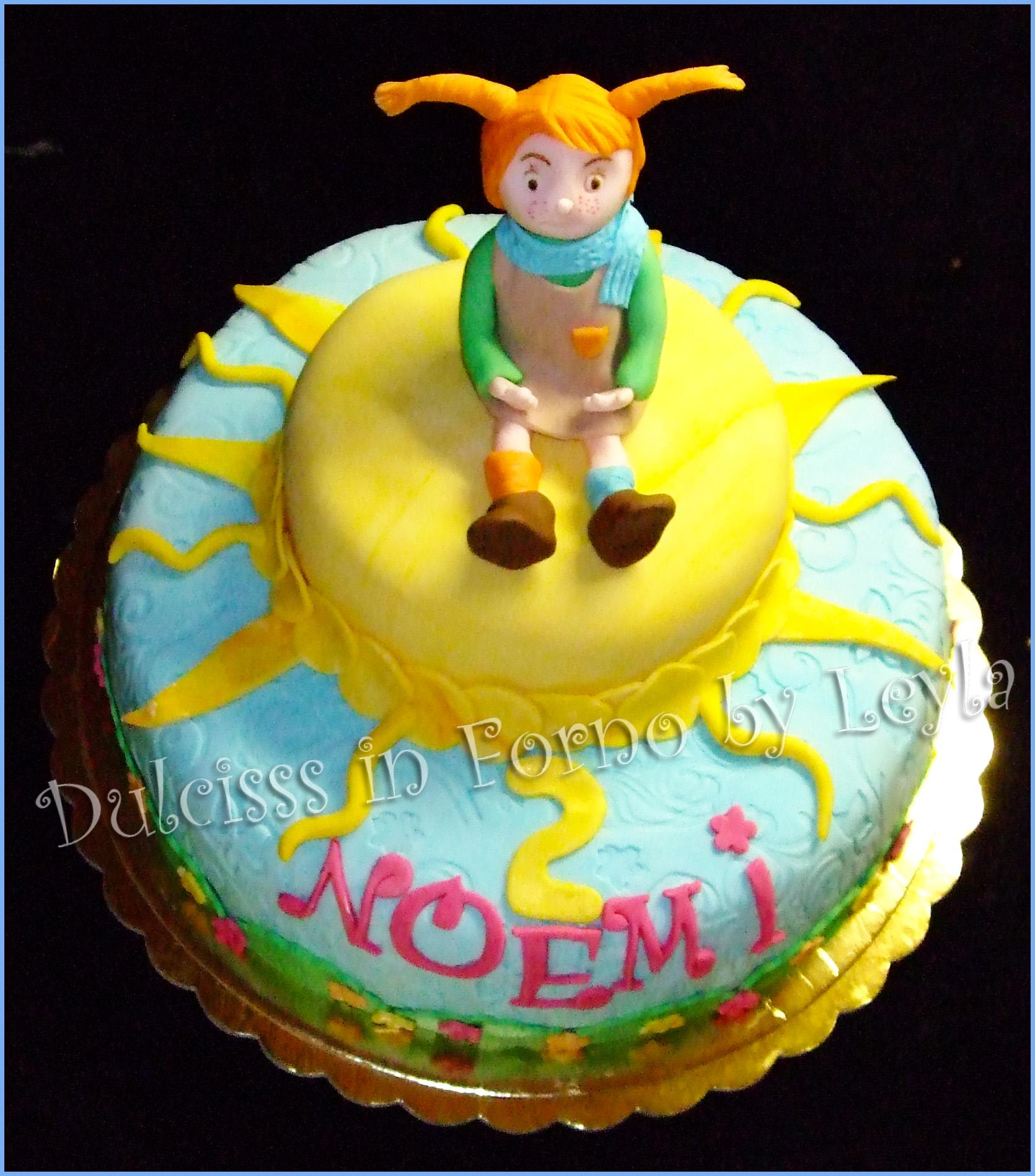 Torta Pippi Calzelunghe, decorata in pasta di zucchero, versione solare PDZ 3D Dulcisss in forno torta di compleanno per bambini