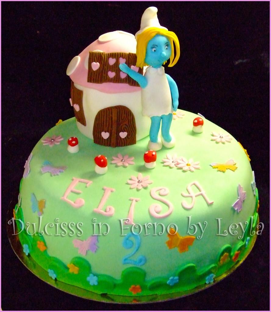 Torta Puffetta con casa-fungo dei Puffi, decorata in pasta di zucchero PDZ Puffi Cartoon 3D