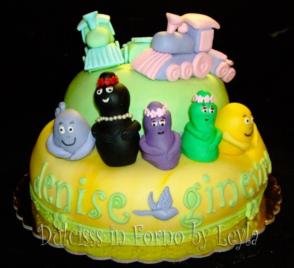 Cake Design Passo A Passo : Torta Trenino e Barbapapa , decorata in pasta di zucchero