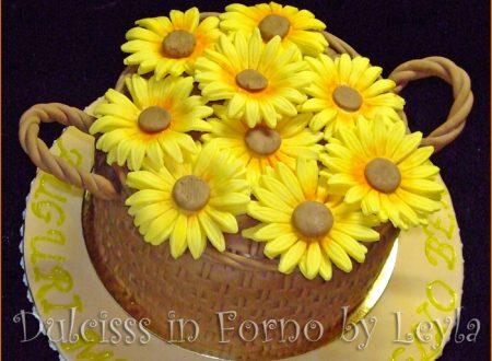Cesto di girasoli, torta per la festa della mamma