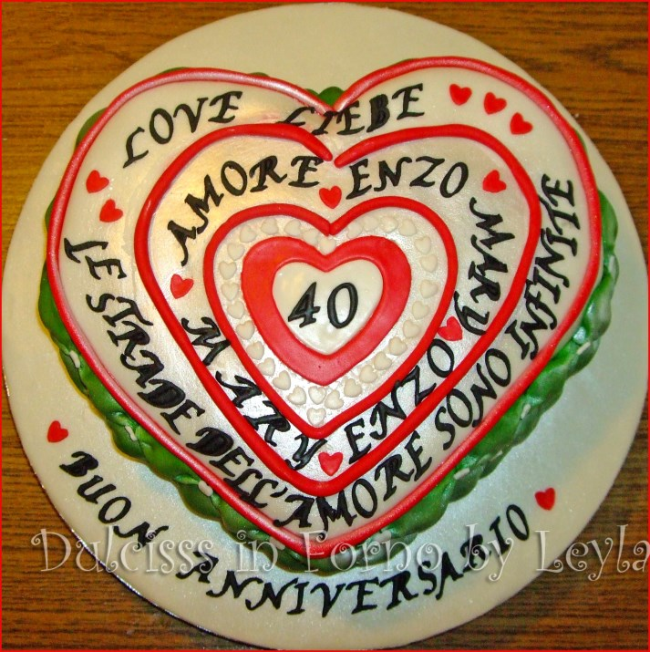Torta anniversario di matrimonio cuori e camper in pasta for 40 anni di matrimonio