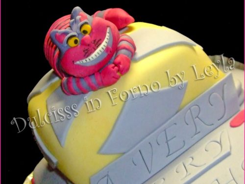 Torta Stregatto con tutorial – Cheshire Cat Cake, in pasta di zucchero