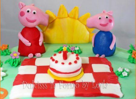 Peppa Pig Cake e il pic nic, decorata in pasta di zucchero