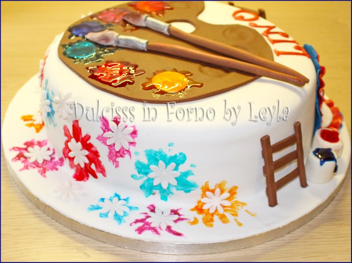 Torta tavolozza colori dell 39 artista o pittore in pasta di for Arte delle torte clementoni