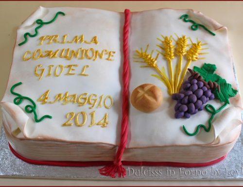 Torta comunione libro aperto, decorata in pdz