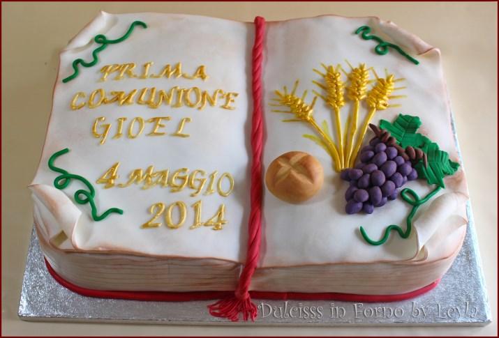 Torta Comunione Libro Aperto Decorata In Pdz