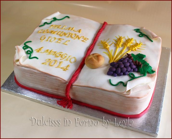 Connu Torta comunione libro aperto, decorata in pdz FW01