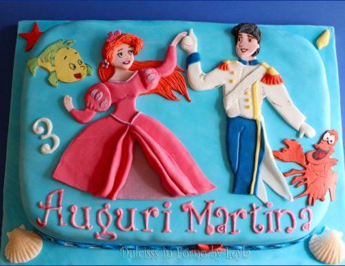 Torta Ariel la Sirenetta in versione principessa con Eric, in pdz
