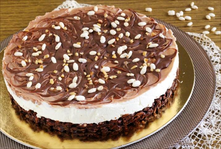 Cheesecake con riso soffiato croccante mascarpone e nutella Dulcisss in forno by Leyla