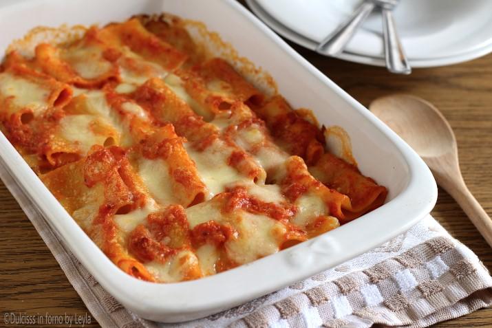 Paccheri al forno con mozzarella