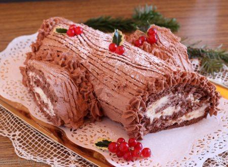Tronchetto al cioccolato con crema al cioccolato bianco e mascarpone