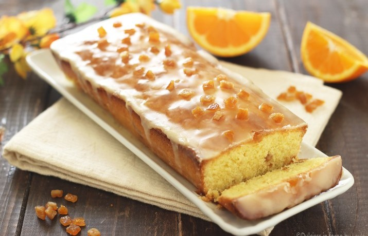 Plumcake all'arancia glassato in stile inglese