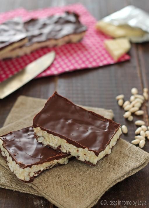 Barrette al cioccolato e riso soffiato Dulcisss in forno by Leyla