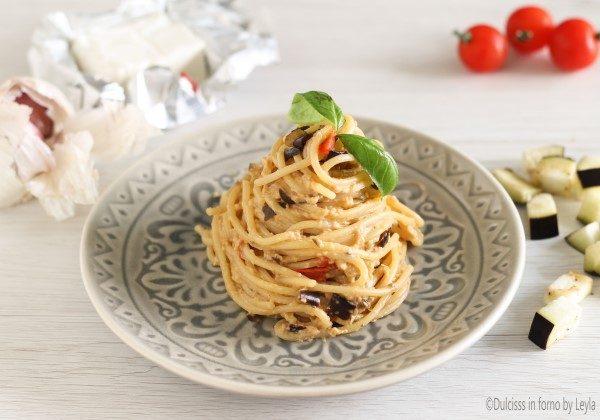 Spaghetti alla crema di melanzane