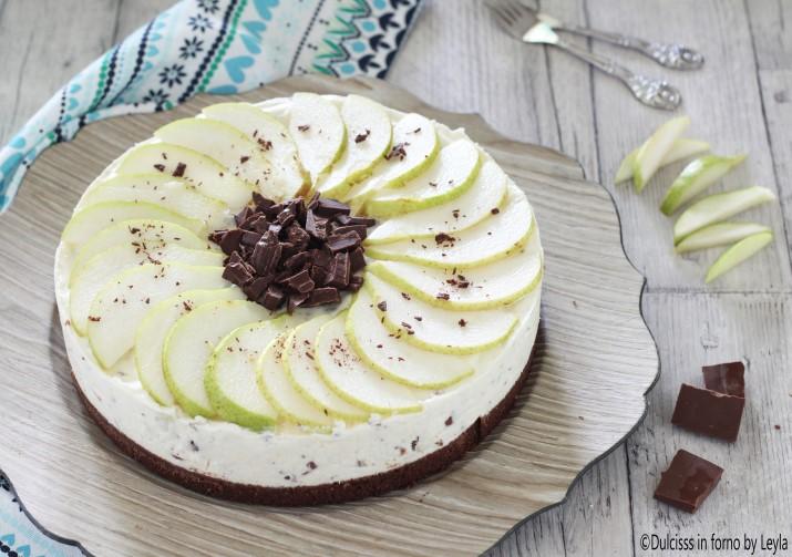 Cheesecake ricotta e pere e cioccolato senza forno