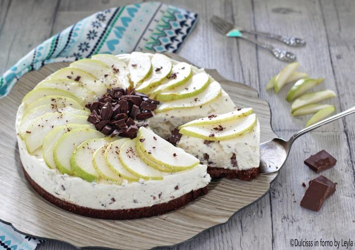 Cheesecake ricotta e pere e cioccolato senza cottura e senza forno Dulcisss in forno by Leyla