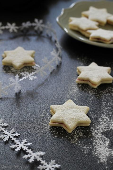 Biscotti senza uova latte e lievito: i biscotti Stelle di neve con pasta frolla senza uova ricetta Dulcisss in forno by Leyla