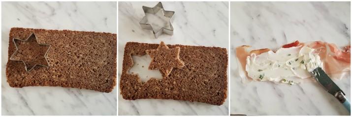 Tartine con speck e mousse di formaggio alle erbe, a forma di stella ricetta Dulcisss in forno by Leyla