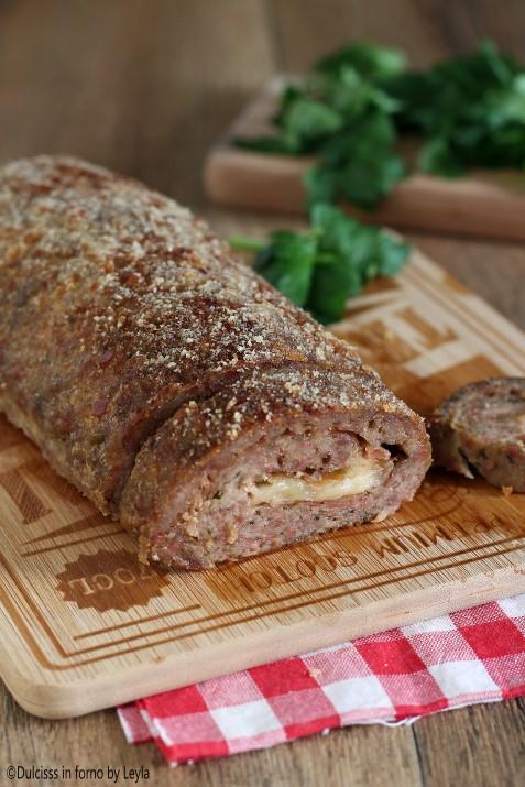 Polpettone di carne ripieno con formaggio e speck ricetta Dulcisss in forno by Leyla