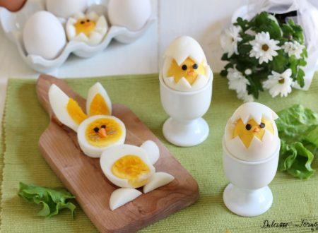 Uova sode a forma di pulcino e coniglietto di Pasqua