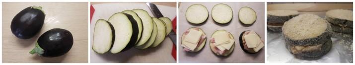 Preparazione delle Cotolette di melanzane ripiene di prosciutto e formaggio
