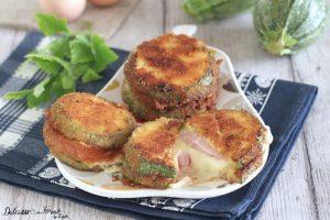 Cotolette di zucchine ripiene con prosciutto e scamorza al forno o fritte