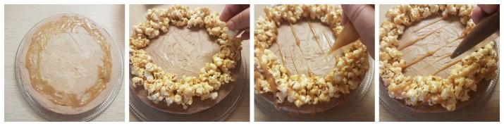 Cheesecake facile e veloce alla nutella senza cottura con caramello e pop corn, senza colla di pesce ricetta Dulcisss in forno by Leyla