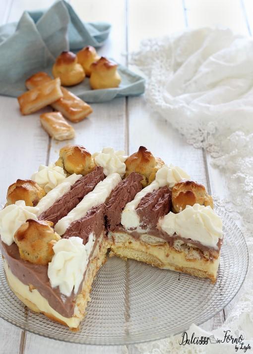 Torta Saint Honore gelato facile senza cottura in forno ricetta Dulcisss in forno by Leyla