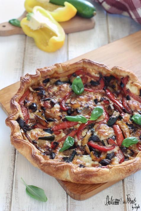 Torta salata con melanzane e zucchine – Torta salata di pasta sfoglia facile – Torta salata mediterranea