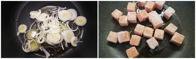 Preparazione del risotto con salmone e cottura del salmone