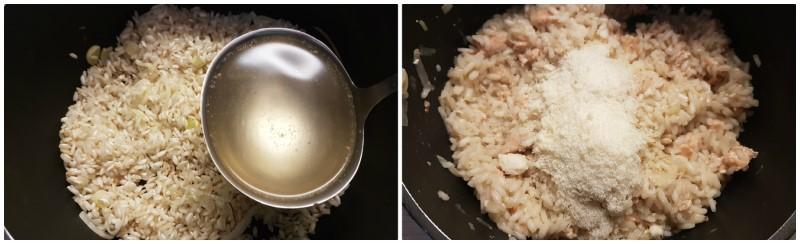 Cottura del risotto con salmone