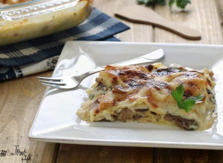Lasagne bianche ai funghi e salsiccia