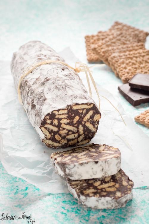 Salame di cioccolato ricetta originale classica Dulcisss in forno by Leyla