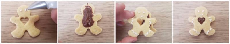 Biscotti natalizi a forma di omino con cuore di Nutella Finti gingerbread alla nutella ricetta Dulcisss in forno by Leyla