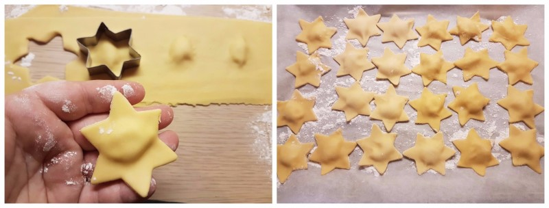 Ravioli al salmone e ricotta di Natale a forma di stella - Ricetta ravioli di pesce fatti in casa ricetta Dulcisss in forno by Leyla