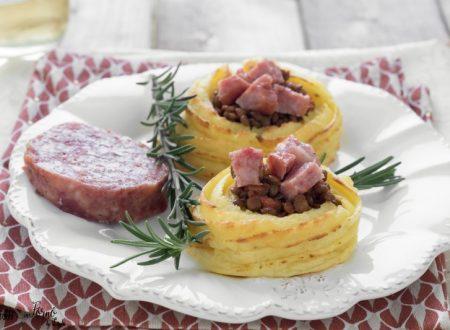 Nidi di patate con lenticchie e cotechino per Capodanno