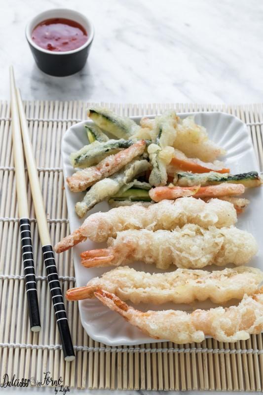 Tempura giapponese di gamberi e verdure, ricetta facile, croccante e leggera Dulcisss in forno by Leyla