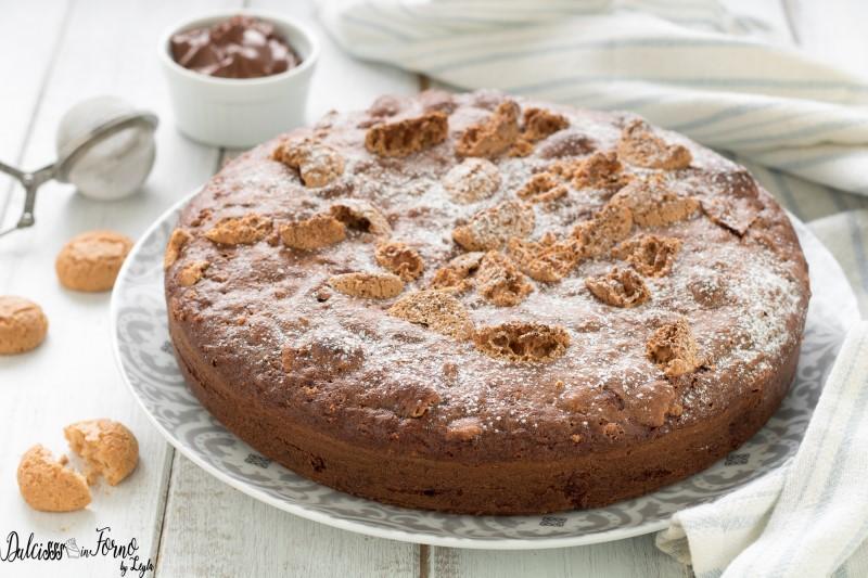 Torta nutella e amaretti senza uova e senza burro, torta semplice e veloce ricetta Dulcisss in forno by Leyla