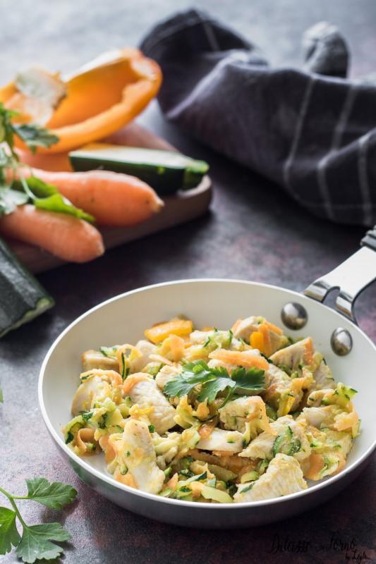 Pollo con verdure: bocconcini di petto di pollo ricetta sfiziosa e leggera Dulcisss in forno by Leyla