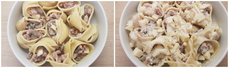 Conchiglioni ripieni di funghi e salsiccia, pasta ripiena al forno ricetta Dulcisss in forno by Leyla