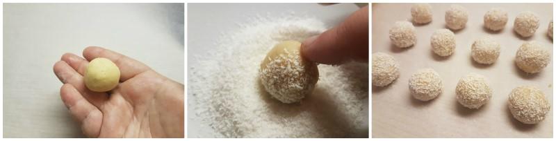 Tartufini bianchi al mascarpone limone e cocco con savoiardi - Tartufini al limone